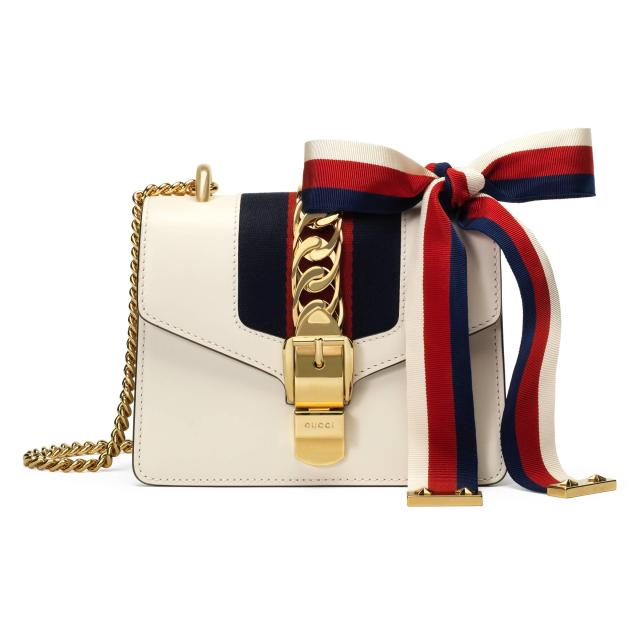 gucci-white-sylvie-leather-mini-chain-bag